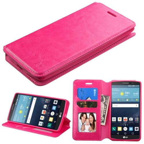 Insten Leather Fabric Case w/stand/card slot For LG G Stylo/G Vista 2,Hot Pink