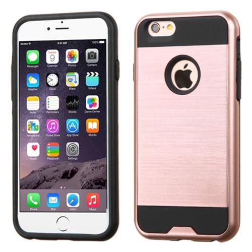 Insten Hard Hybrid Rubber Coated Silicone Case For Apple iPhone 6 Plus/6s Plus, Rose Gold/Black