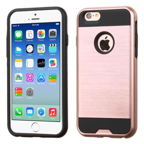 Insten Hard Dual Layer Rubber Coated Silicone Case For Apple iPhone 6/6s, Rose Gold/Black