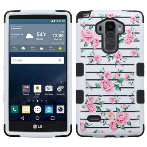 Insten Tuff Fresh Roses Hard Hybrid Rubberized Silicone Case For LG G Stylo/G Vista 2, Pink/White