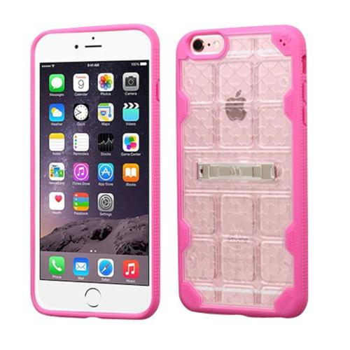 Insten Hard Crystal TPU Case w/stand For Apple iPhone 6 Plus/6s Plus, Clear/Hot Pink