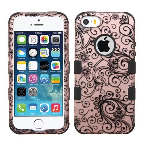 Insten Tuff Four-leaf Clover Hybrid Dual Layer Case For Apple iPhone 5/5S/SE,Rose Gold/Black