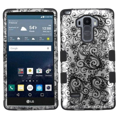 Insten Tuff Four-leaf Clover Hard Dual Layer Silicone Case For LG G Stylo/G Vista 2, Black
