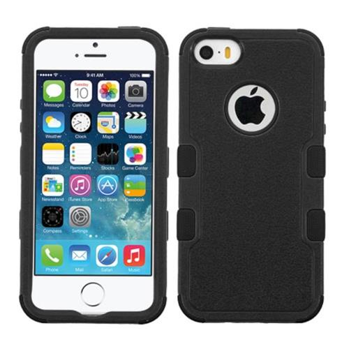 Insten Tuff Hard Hybrid Rubber Coated Silicone Case For Apple iPhone 5/5S/SE, Black