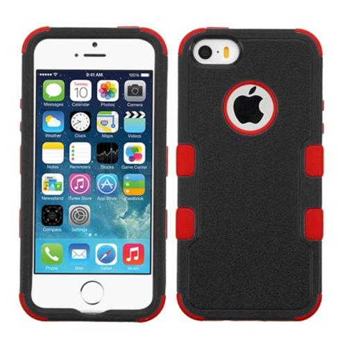 Insten Tuff Hard Dual Layer Silicone Cover Case For Apple iPhone 5/5S/SE, Black/Red