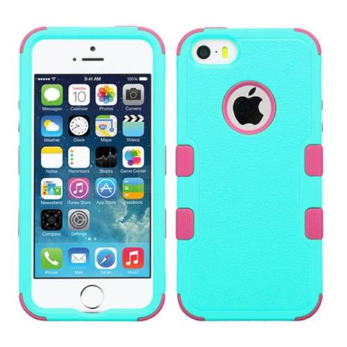 Insten Tuff Hard Hybrid Rubber Coated Silicone Case For Apple iPhone 5/5S/SE, Teal/Pink