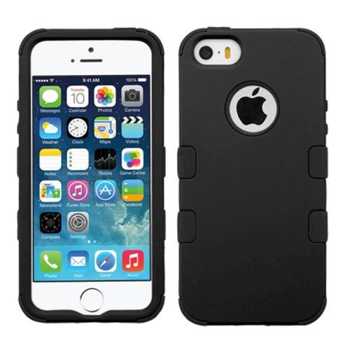 Insten Tuff Hard Hybrid Rubber Silicone Cover Case For Apple iPhone 5/5S/SE, Black