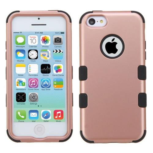 Insten Tuff Hard Dual Layer Rubber Coated Silicone Case For Apple iPhone 5C, Rose Gold/Black
