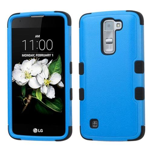 Insten Tuff Hard Hybrid Rubber Coated Silicone Cover Case For LG K7, Blue/Black