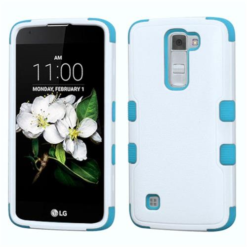 Insten Tuff Hard Dual Layer Rubber Coated Silicone Case For LG K7, White/Blue