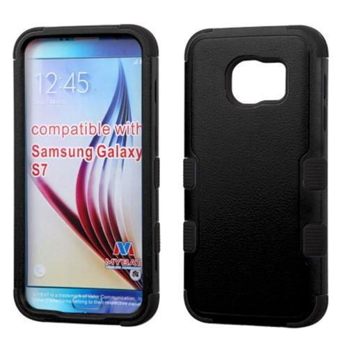 Insten Tuff Hard Dual Layer Rubber Silicone Cover Case For Samsung Galaxy S7, Black