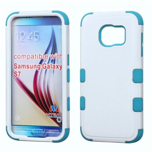 Insten Tuff Hard Hybrid Rubberized Silicone Case For Samsung Galaxy S7, White/Blue