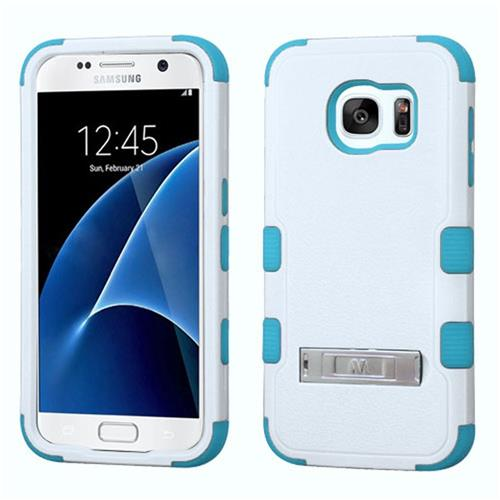 Insten Hard Hybrid Rubber Coated Silicone Case w/stand For Samsung Galaxy S7, White/Blue