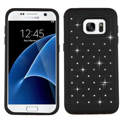 Insten Hard Hybrid Rubber Silicone Case w/Diamond For Samsung Galaxy S7, Black