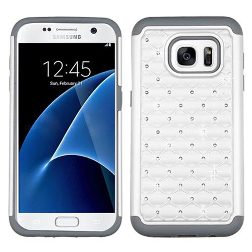 Insten Hard Hybrid Rubber Coated Silicone Cover Case w/Diamond For Samsung Galaxy S7, White/Gray