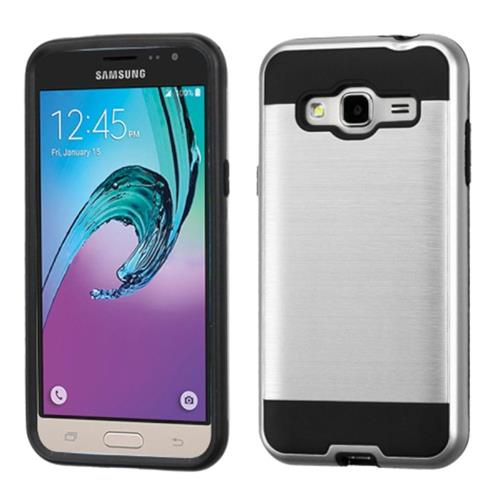 Insten Hard Hybrid Rubberized Silicone Case For Samsung Galaxy Amp Prime/J3(2016), Silver/Black