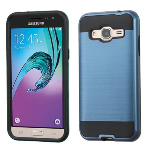 Insten Hard Hybrid Rubberized Silicone Case For Samsung Galaxy Amp Prime/J3(2016), Blue/Black