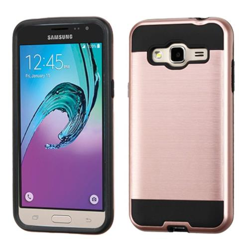 Insten Hard Hybrid Rubber Silicone Case For Samsung Galaxy Amp Prime/J3(2016),Rose Gold/Black