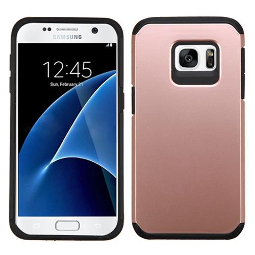 Insten Hard Dual Layer Silicone Case For Samsung Galaxy S7, Rose Gold/Black