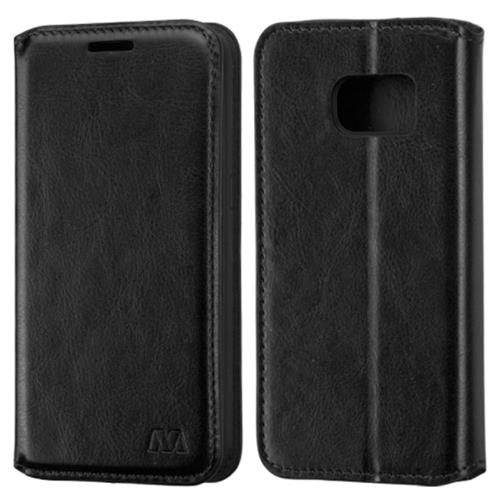 Insten Book-Style Leather Fabric Cover Case w/stand For Samsung Galaxy S7, Black