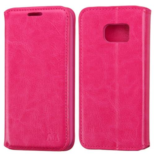 Insten Folio Leather Fabric Case w/stand For Samsung Galaxy S7, Hot Pink