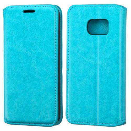 Insten Folio Leather Fabric Cover Case w/stand For Samsung Galaxy S7, Blue
