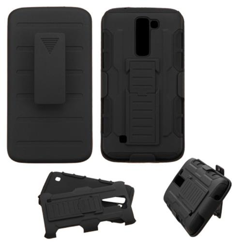 Insten Car Armor Hard Hybrid Plastic Silicone Case w/Holster For LG K7/K8, Black