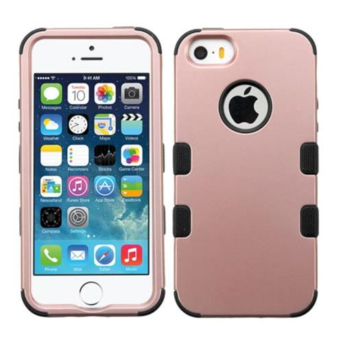 Insten Tuff Hard Hybrid Silicone Cover Case For Apple iPhone 5/5S/SE, Rose Gold/Black