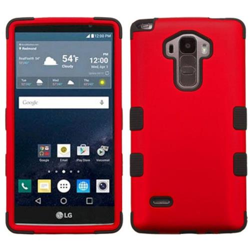 Insten Tuff Hard Hybrid Rubber Coated Silicone Cover Case For LG G Stylo/G Vista 2, Red/Black