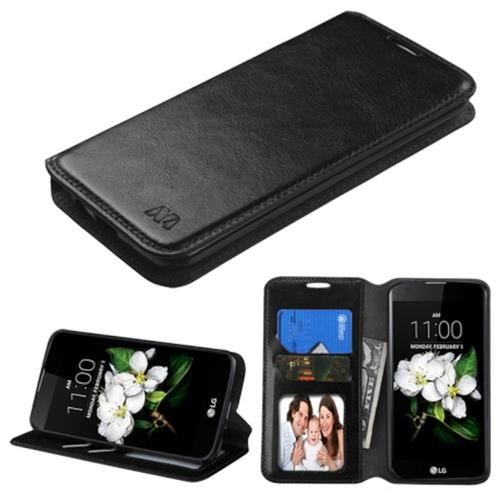 Insten Book-Style Leather Fabric Case w/stand/card slot/Photo Display For LG K7/K8, Black