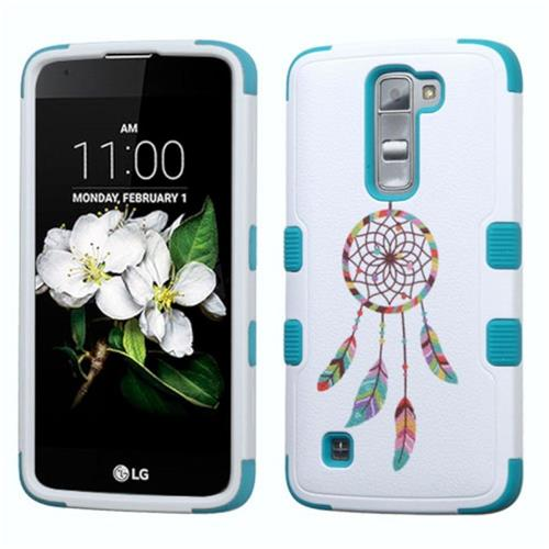Insten Tuff Pastel Dreamcatcher Hard Hybrid Rubberized Silicone Case For LG K7, Blue/White