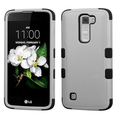 Insten Tuff Hard Dual Layer Rubberized Silicone Cover Case For LG K7, Black/Gray