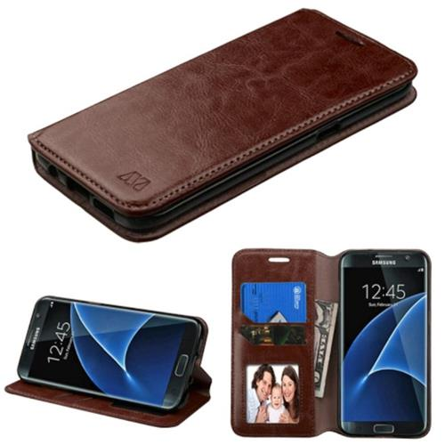 Insten Leather Fabric Case w/stand/card holder For Samsung Galaxy S7 Edge,Brown