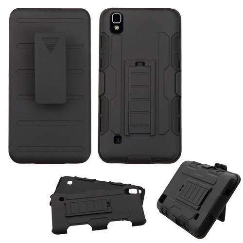 Insten Car Armor Hard Hybrid Plastic Silicone Case w/stand/Holster For LG Tribute HD/X STYLE,Black