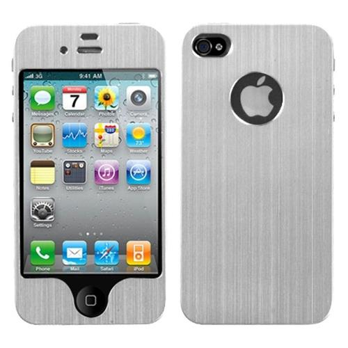Insten Brushed Aluminum Metallic Cover Case For Apple iPhone 4/4S, Silver