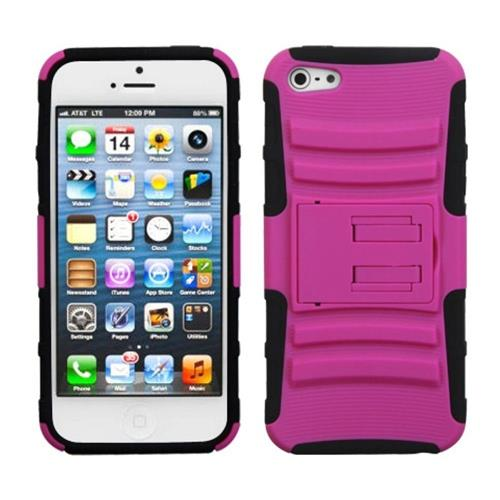 Insten Advanced Armor Hard Dual Layer Case w/stand For Apple iPhone 5/5S/SE,Hot Pink/Black