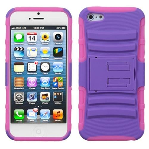 Insten Advanced Armor Hybrid Case w/stand For Apple iPhone 5/5S/SE,Purple/Hot Pink