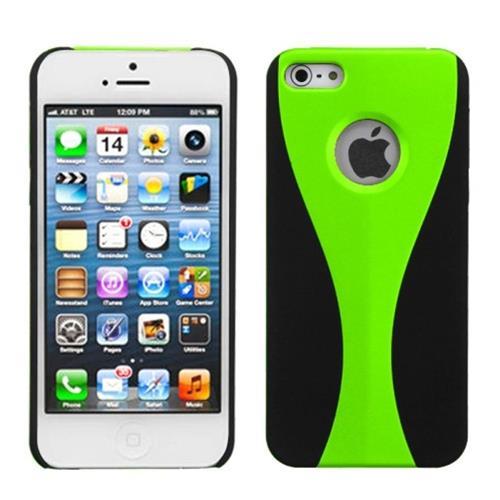 Insten C Wave Hard Rubberized Case For Apple iPhone 5/5S/SE, Green/Black