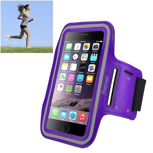 Insten Universal Sportband with built-in key holder, Purple