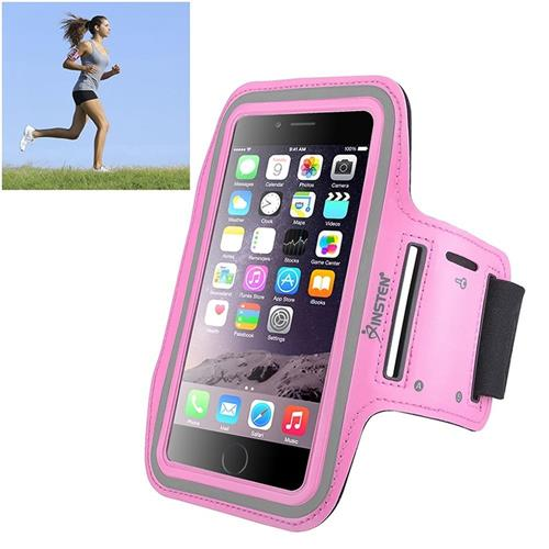 Insten Universal Sportband with built-in key holder, Pink