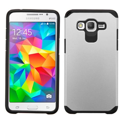 Insten Hard Hybrid Silicone Cover Case For Samsung Galaxy Grand Prime, Silver/Black