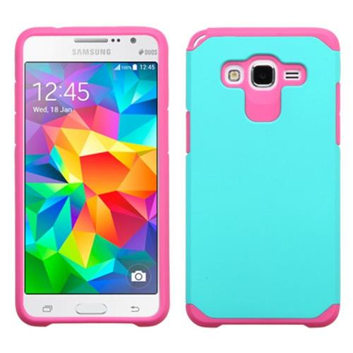 Insten Hard Dual Layer Rubber Silicone Case For Samsung Galaxy Grand Prime, Teal/Pink