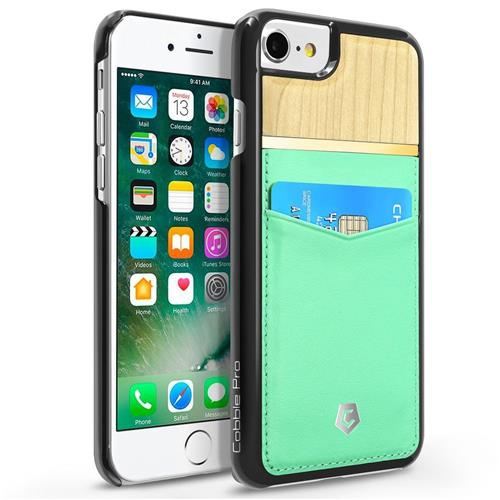 Cobble Pro Leather Fabric Bamboo wood Case w/card holder For Apple iPhone 6/6s/7, Turquoise/Brown