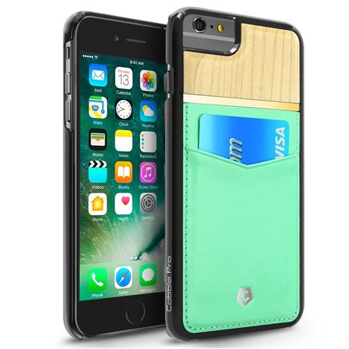 Cobble Pro Leather Fabric Bamboo Wood Card Case For Apple iPhone 6 Plus/6s Plus,Turquoise/Brown