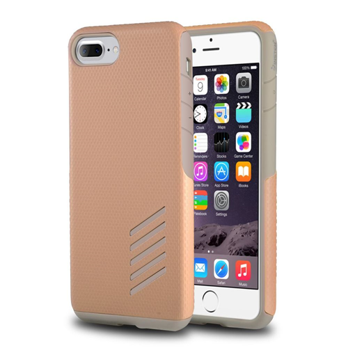 Insten Hard Dual Layer Rubberized Silicone Case For Apple iPhone 7 Plus/8 Plus, Light Gray/Rose Gold