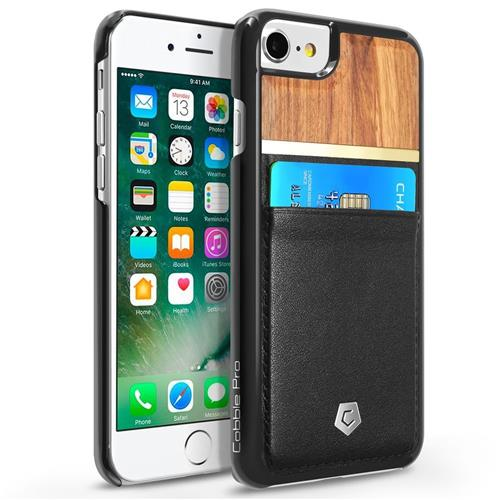 Cobble Pro Leather Fabric Bamboo wood Cover Case w/card slot For Apple iPhone 6/6s/7, Black/Brown