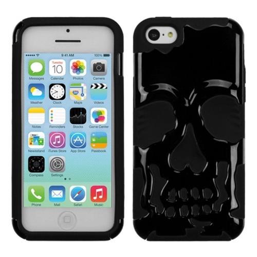 Insten Skullcap Hard Dual Layer Plastic Silicone Case For Apple iPhone 5C, Black