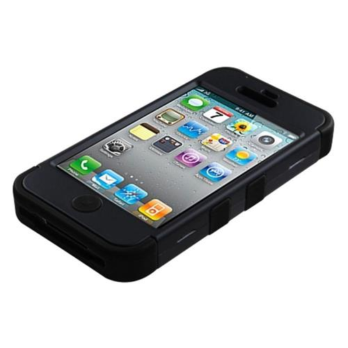 Insten Tuff Hard Hybrid Silicone Case For Apple iPhone 4/4S, Black