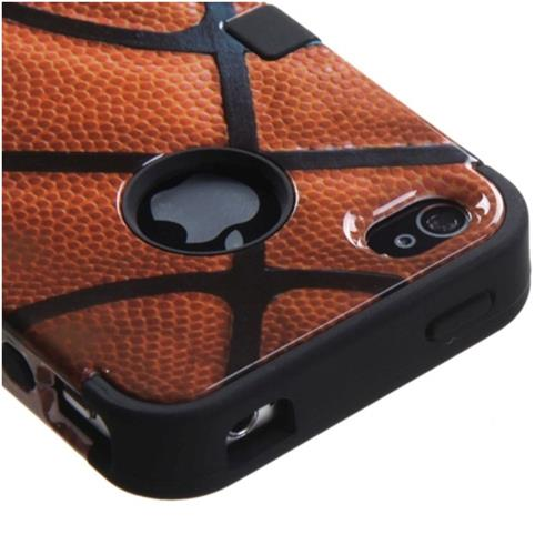 Insten Tuff Basketball Hard Dual Layer Silicone Case For Apple iPhone 4/4S, Brown/Black