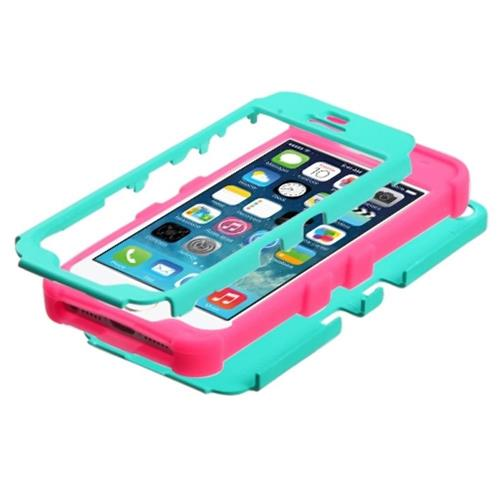 Insten Tuff Hard Hybrid Rubber Silicone Cover Case For Apple iPhone 5/5S/SE, Turquoise/Hot Pink